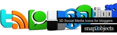 header 3d social media icons