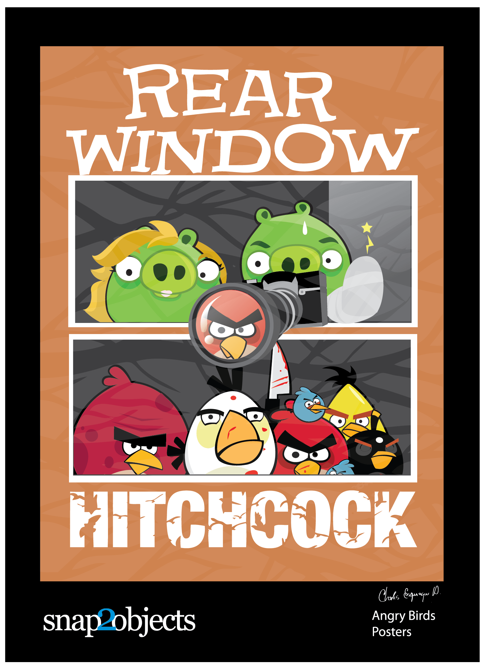 Hitchcock Angry Birds Posters Snap2objects