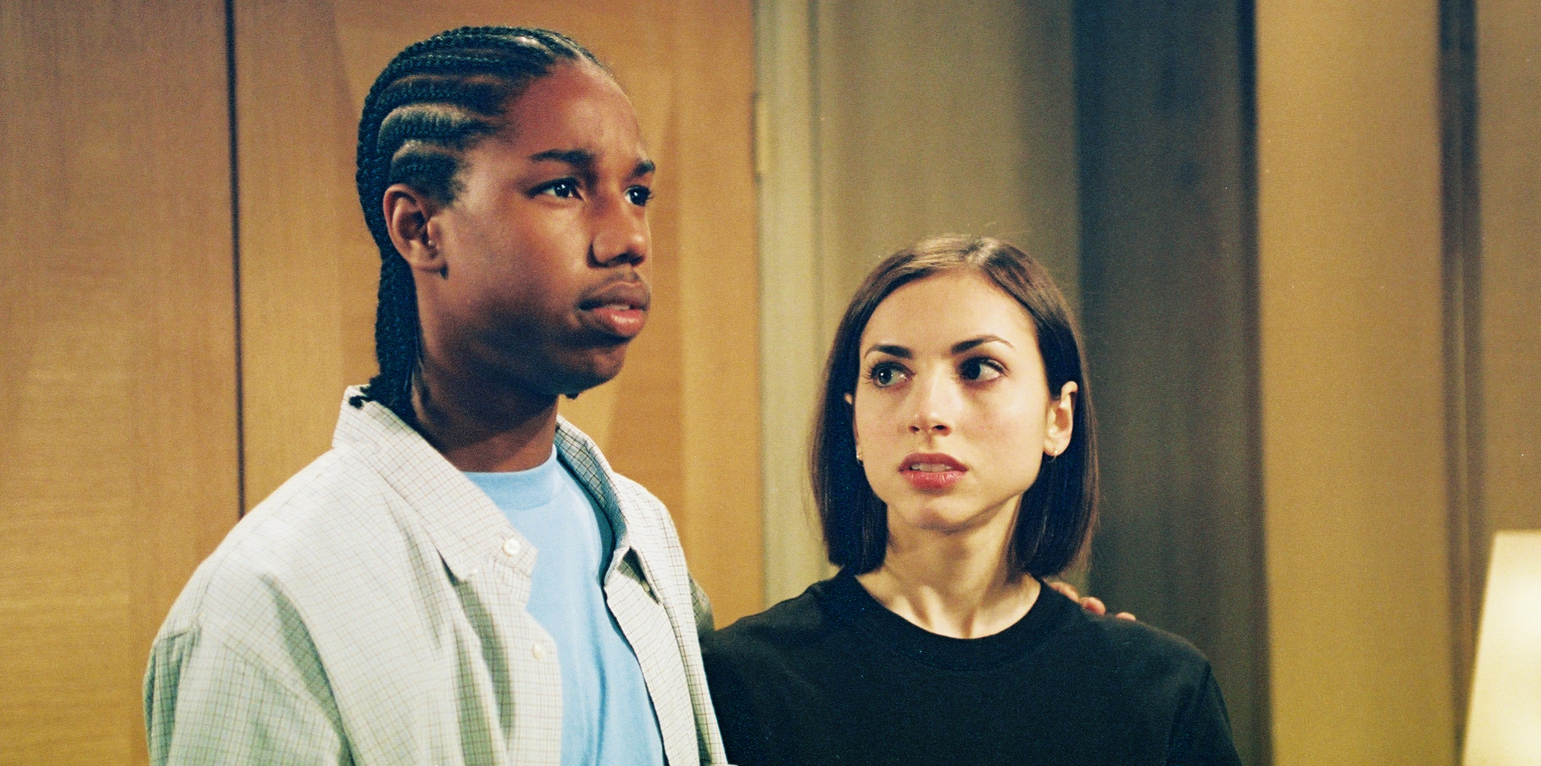 "54603_ 8_25a__All My Children (2003) __ Michael B. Jordan (Reggie) and Eden Riegel (Bianca) in a scene from ABC Daytime's ""All My Children"" that airs the week of September 22, 2003 (1:00 - 2:00 PM, EST). Photo credit:  ©2003 ABC, Inc./Lorenzo Bevilaqua"