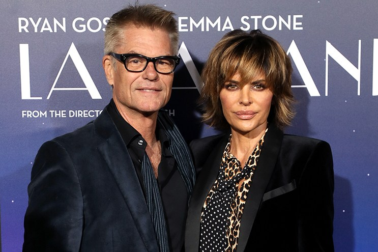 "WESTWOOD, CA - DECEMBER 06:  Actor Harry Hamlin (L) and actress Lisa Rinna attend the premiere of Lionsgate's ""La La Land"" at Mann Village Theatre on December 6, 2016 in Westwood, California.  (Photo by David Livingston/Getty Images)"