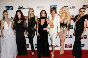 "LOS ANGELES, CA - DECEMBER 02: (L-R)  Reality TV Personalities Eden Sassoon, Lisa Vanderpump, Eileen Davidson, Kyle Richards, Lisa Rinna, Erika Girardi and Dorit Kemsley attend the premiere party for Bravo Networks' ""Real Housewives Of Beverly Hills"" Season 7 at Sofitel Los Angeles At Beverly Hills on December 2, 2016 in Los Angeles, California.  (Photo by Paul Archuleta/FilmMagic)"