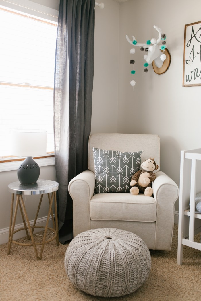 Caleb's Rustic Neutral Nursery Reveal With White, Gray, and Wood Accents, Target Glider, and Faux Deer Heads With Pom Pom Garland