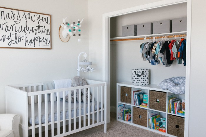 Caleb's Rustic Neutral Nursery Reveal With White, Gray, and Wood Accents and Ikea Kallax Organizer in Closet