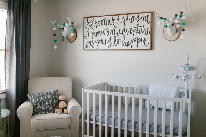 DIY White Mounted Deer Head in rustic neutral nursery