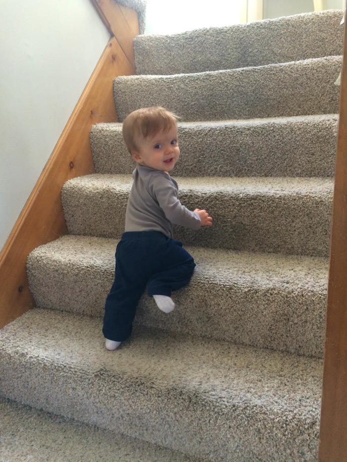 Caleb's 11 Month Update Stair Climbing
