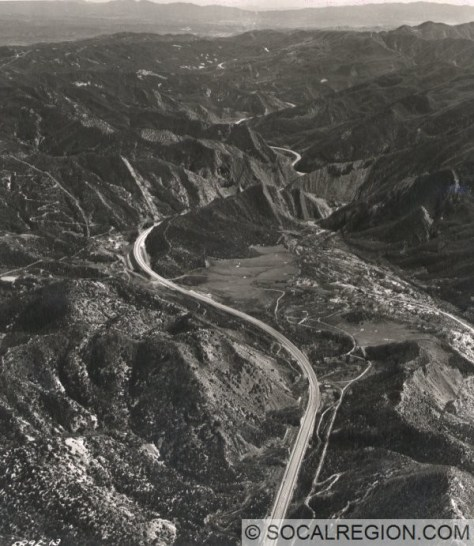 Aerial view of the Pyramid Lake area from 1958. View is southerly.