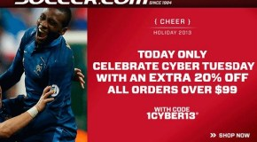 Cyber Tuesday – Take 20% Off at Soccer.com