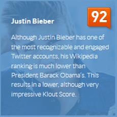 Klout Score - Justin Bieber