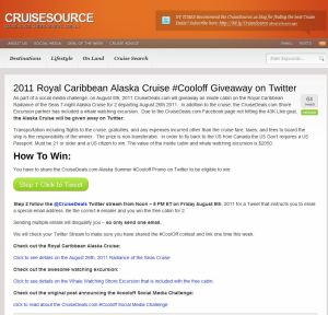 Cruise Sources contest rules for the Alaskan cruise