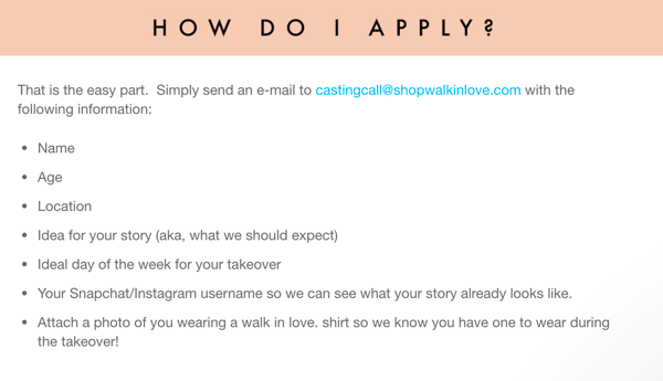 To find customers and superfans to host Instagram story takeovers, Walk in Love has an application on its website.