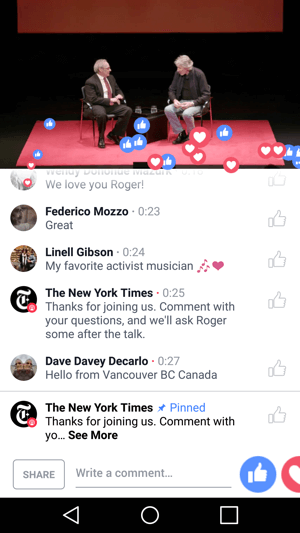 The New York Times gives viewers the experience of attending an event through a Facebook Live broadcast.
