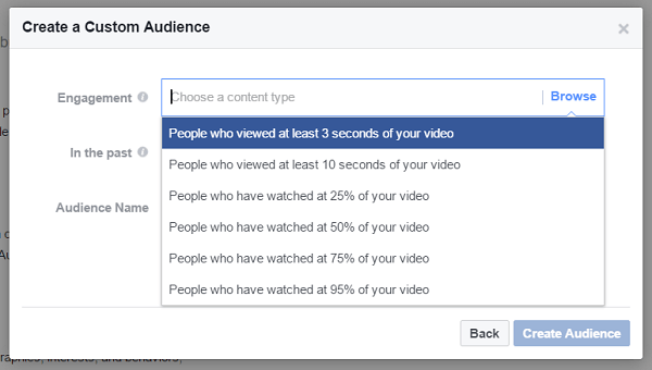 Create a custom audience of people who have watched at least three seconds of a previous video.