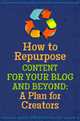 How to Repurpose Content for Your Blog and Beyond: A Plan for Creators by Colin Gray on Social Media Examiner.