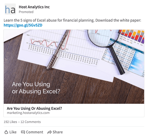 Host Analytics delivers a white paper download offer to a targeted audience on LinkedIn.