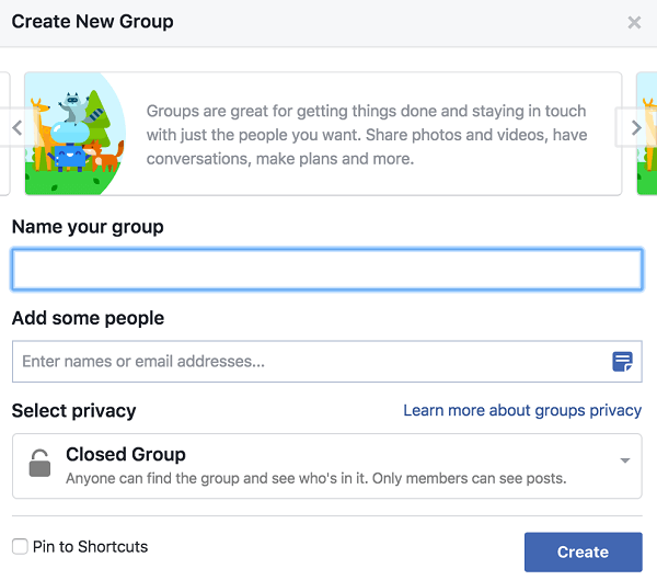 Give your group a name, add people, and decide on the privacy setting.