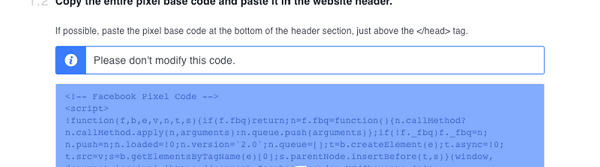 Copy the base pixel code and add it to your website.