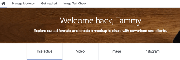 With the Creative Hub tool, you can mock up a Facebook ad and share it with your team.