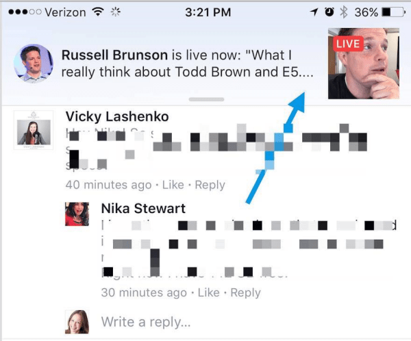 Facebook now plays Live video broadcasts within the notification that a Page a user likes or has followed is now live on Facebook.