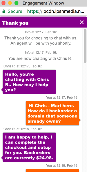 GoDaddy.com offers a live chat feature on its website.