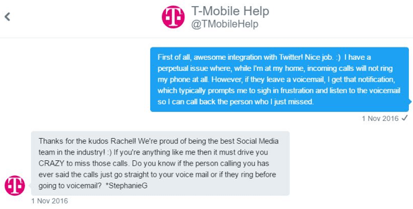 A T-Mobile customer service rep was able to interact with me one-to-one and zero in on my issue.