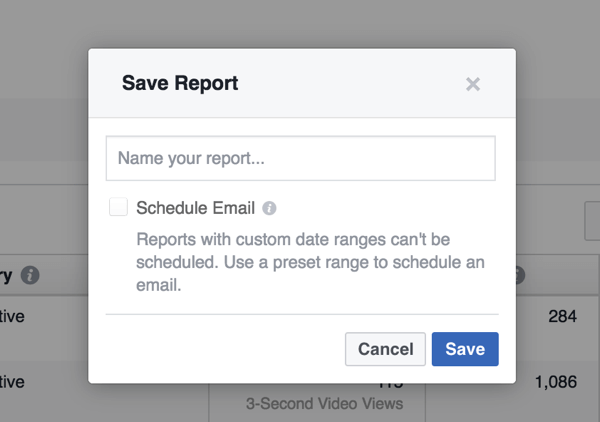 The Ads Reporting tool lets you save a report for future reference.