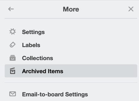 You can access archived items from the right-hand menu.