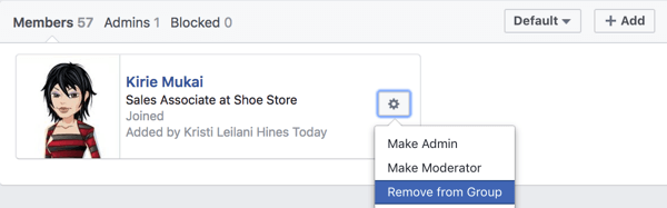 Remove Facebook group members who are causing problems.
