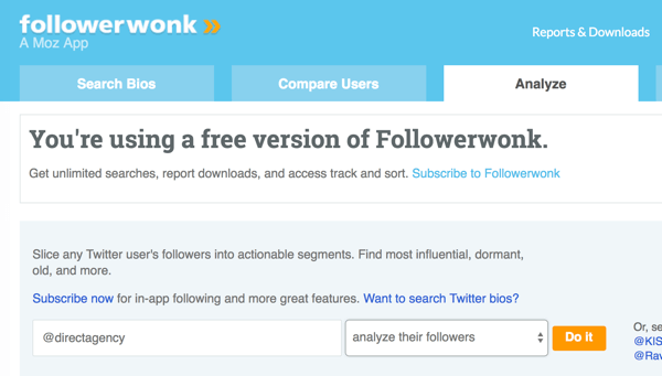 Select the Twitter account you want to analyze with Followerwonk.