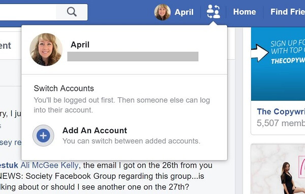 Facebook appears to be testing a button that allows users to quickly switch between accounts.