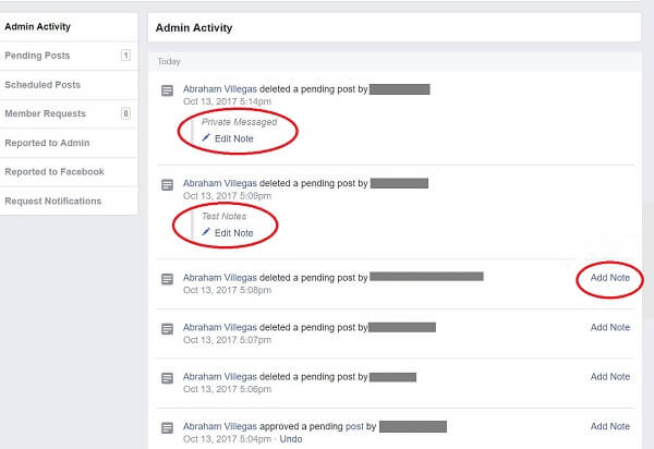 Facebook appears to be testing a new notes feature for Facebook Group admins.