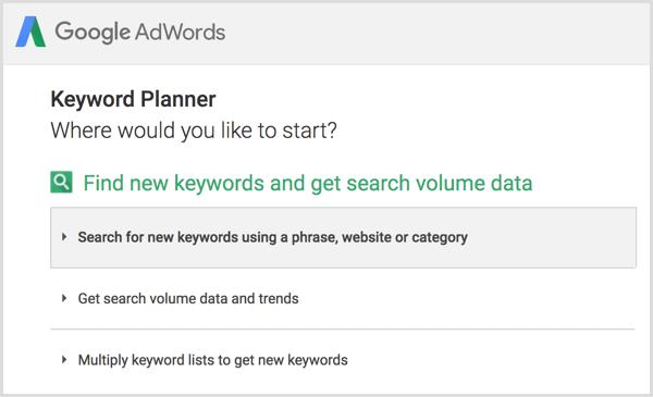 Google Keyword Planner search for new keywords