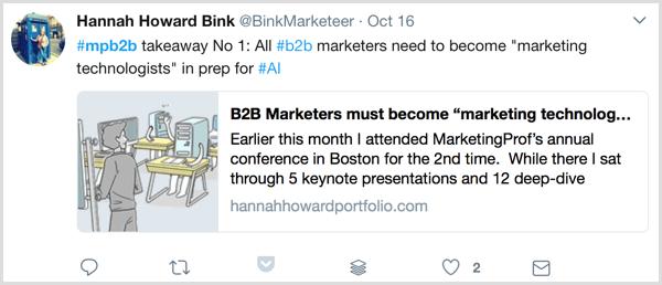 live blogging marketing profs b2b marketing forum twitter example