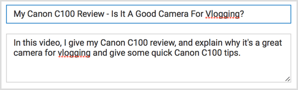 YouTube video title with keywords