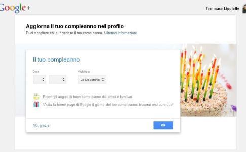 Il tuo Compleanno su Google+