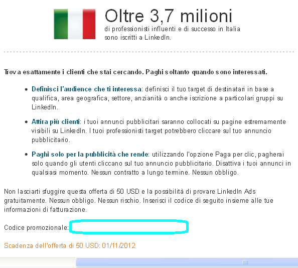 LinkedIn Ads in Italiano - Promo Sconto