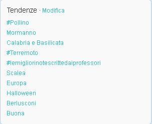Twitter Trend Topics 26 ottobre 2012