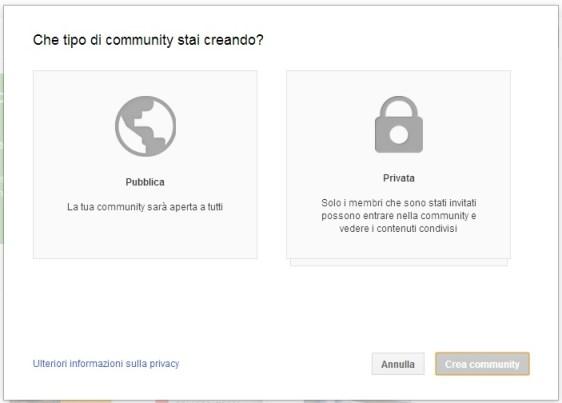 Community Pubblica e Community Privata - Google Plus