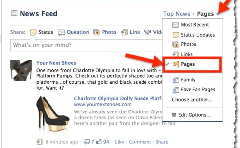 Facebook News Feed delle Pagine
