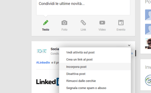 Incorpora post Google Plus
