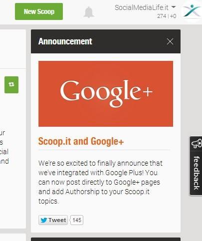 Annuncio integrazione Scoop e Google+