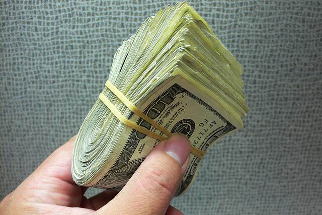 Wad of Cash in Rubberband