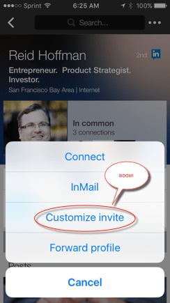 LinkedIn Mobile App CUSTOMIZE INVITE prompt