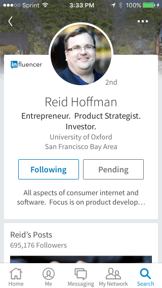 Reid Hoffman LinkedIn App Profile Pic