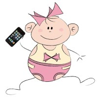Cartoon-baby-with-iPhone