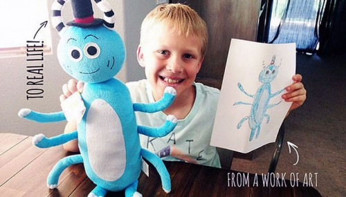 Toy maker transforms kids' drawings into real stuffed animals! Amazing work!