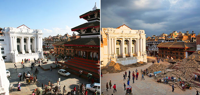 Before And After Photos Of Nepal's Landmarks Reveal Devastating Impact Of Earthquake