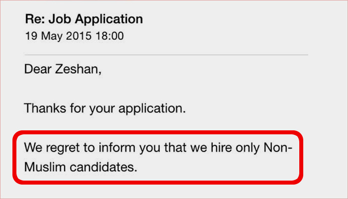 This Guy's Job Application Was Rejected For The Worst Possible Reason. Because He Is A Muslim!