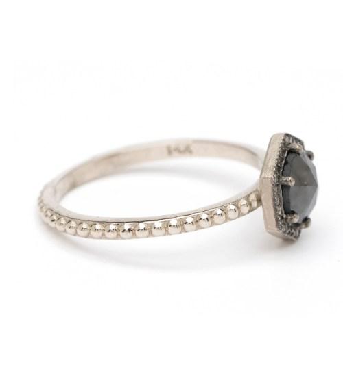 Cheery Black Rose Cut Diamond Hexagon Stacking Ring Aria Hexagon Halo Black Diamond Black Diamond Engagement Rings Women Black Diamond Engagement Rings