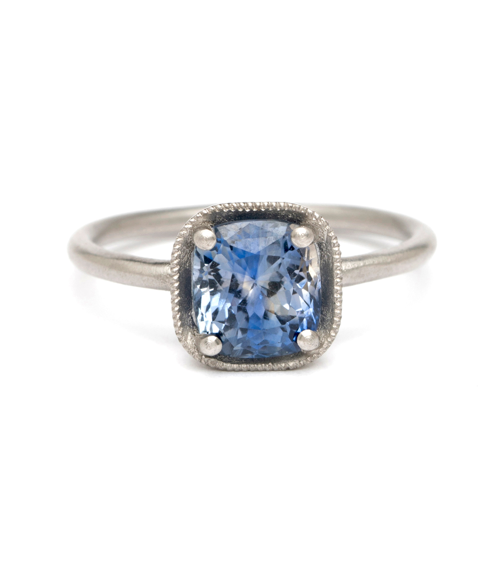 view all true bohemian wedding rings Platinum Cushion Cut Bi Color Blue Sapphire Boho Engagement Ring made in Los Angeles