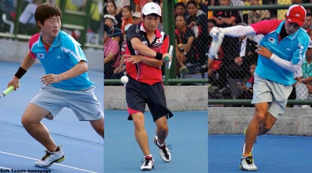 今大会男子シングルスの中心の3人。左からキムドンフン、長江光一、ハンジュオン